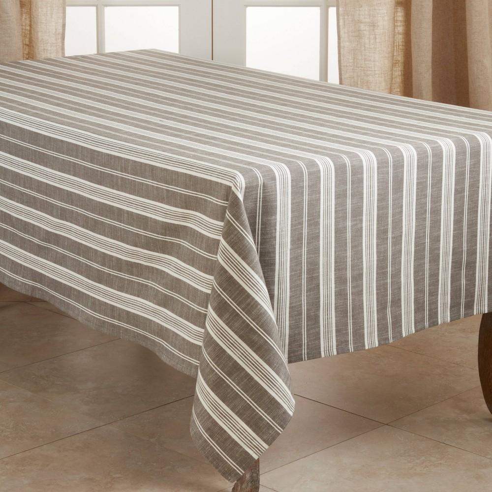 "Image of ""104"""" x 65"""" Cotton Striped Tablecloth Gray - Saro Lifestyle"""