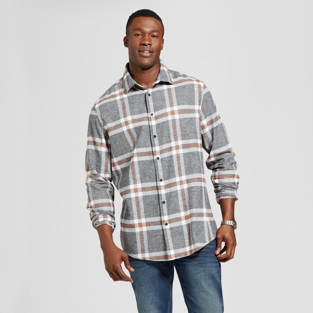 Men's Tall Long Sleeve Heavyweight Flannel Shirt - Goodfellow & Co Gray Xlt
