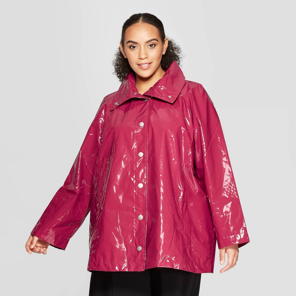 Women's Plus Size Front Double Welt Pocket Button Detailed Anorak Jacket - Who What Wear Cranberry Red 3X