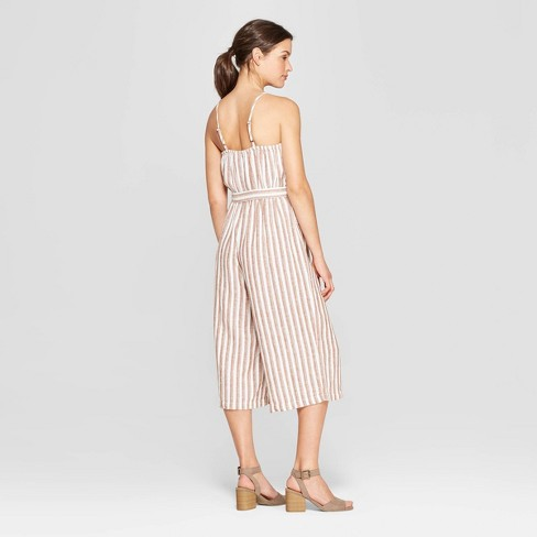 7b3e85ef12c Women s Sleeveless Deep V-Neck Button Front Striped Jumpsuit - Universal  Thread™ Brown White