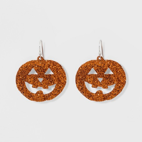 Glitter Pumpkin Earrings Orange
