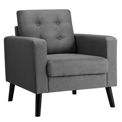 Costway Modern Tufted Accent Chair Fabric Armchair Single Sofa w/ Rubber Wood Legs Blue\ Beige\Grey