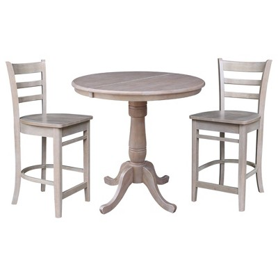 """36"""" Round Extendable Dining Table with 2 Madrid Counter Height Barstools Washed Gray/Taupe - International Concepts"""