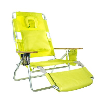 Ostrich Deluxe Padded 3-N-1 Outdoor Lounge Reclining Beach Chair, Lime Green