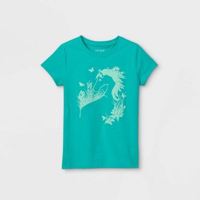 Girls' Wild Horse Graphic Short Sleeve T-Shirt - Cat & Jack™ Turquoise
