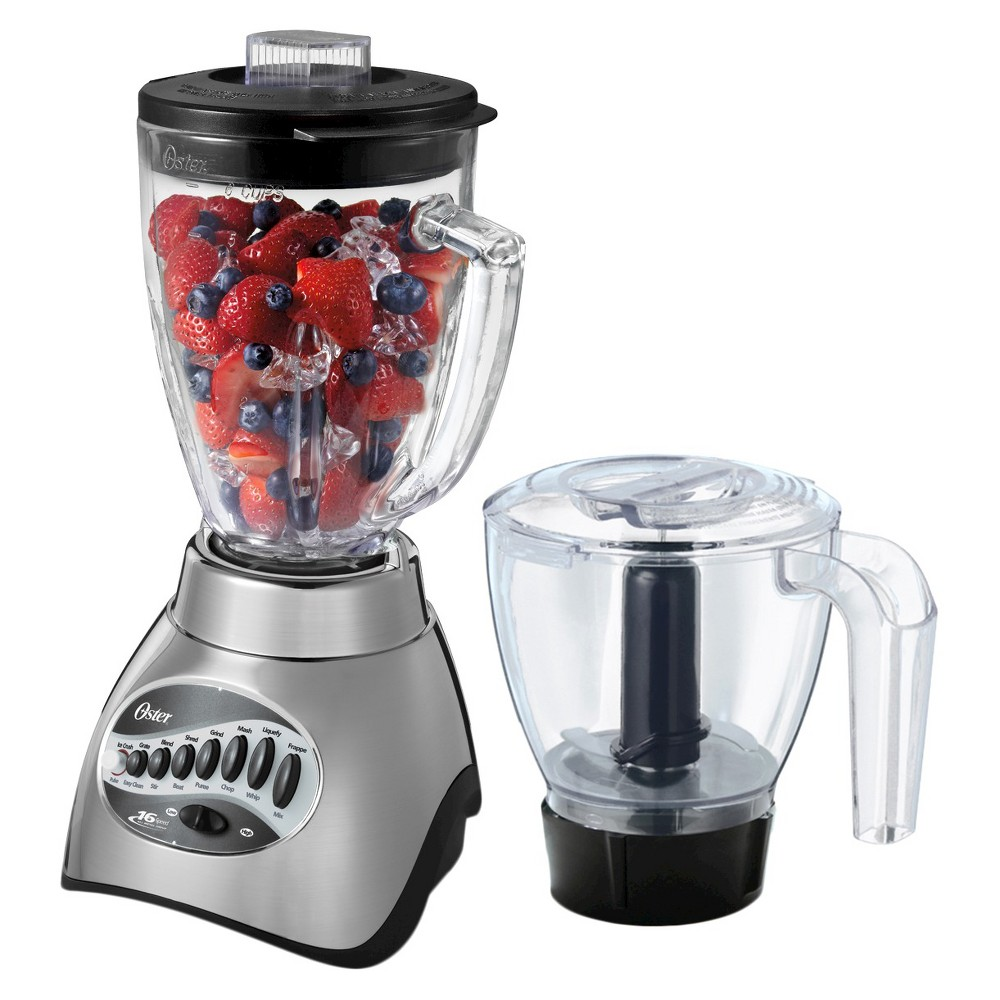 Oster Precise Blend 300 Plus Blender with Food Processor Attachment – Brushed Nickel, 006878-000-NP0 15093040
