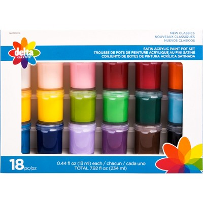 18ct .44 fl oz Satin Acrylic Paint Pot Set - Delta