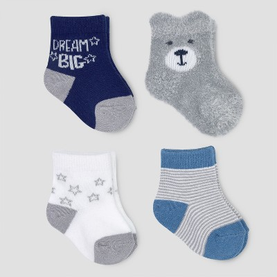 Baby Boys' 4pk Bear Puppet Crew Socks - Cloud Island™ Grey 0-6M