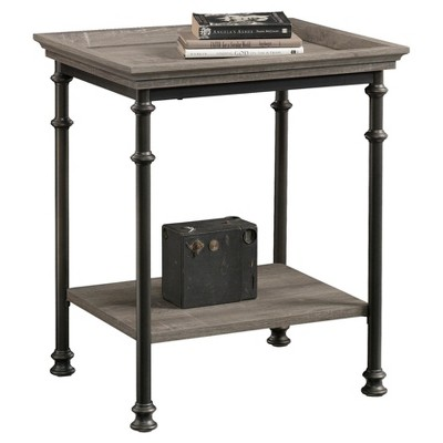 Canal Street Decorative Side Table with Metal Frame - Northern Oak Finish - Sauder