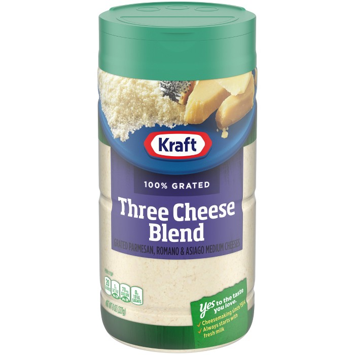 Kraft 100% Grated Three Cheese Blend 8 oz - image 1 of 3