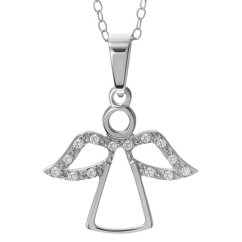 1/6 CT. T.W. Round-cut CZ Pave-set Angel Necklace in Sterling Silver - Silver - image 1 of 2