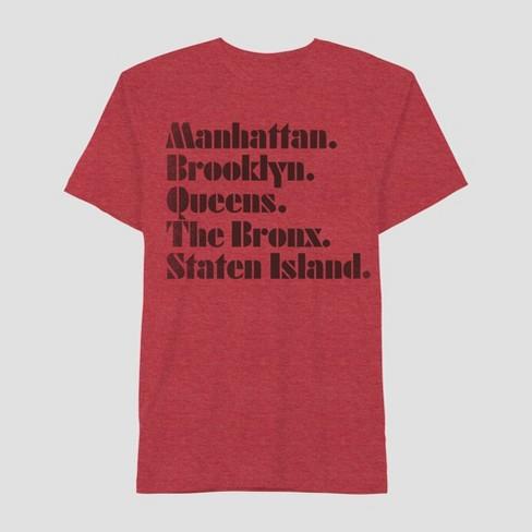 7e3b489f9 Men's Short Sleeve Manhattan, Brooklyn, Queens, Bronx, Staten Island  Graphic T-Shirt - Awake Red