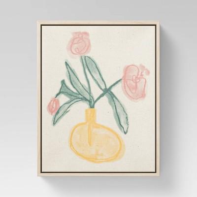 "8"" x 10"" Pink Flowers Framed Linen Canvas - Opalhouse™"