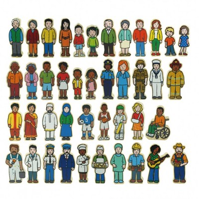 The Freckled Frog Wooden Village People  - 42 Pieces