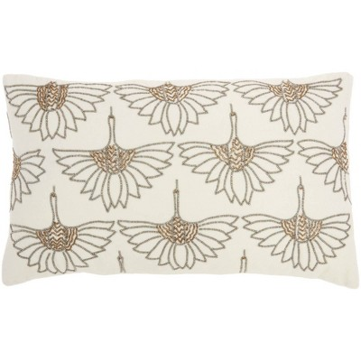 "12""x20"" Sofia Beaded Flowers Throw Pillow Off White - Mina Victory"