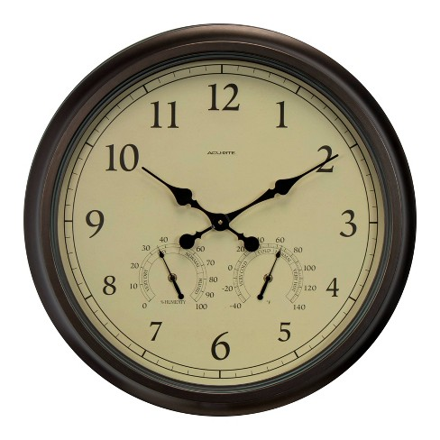 """24"""" Outdoor / Indoor Wall Clock with Thermometer and Humidity - Weathered Bronze Finish - Acurite - image 1 of 4"""