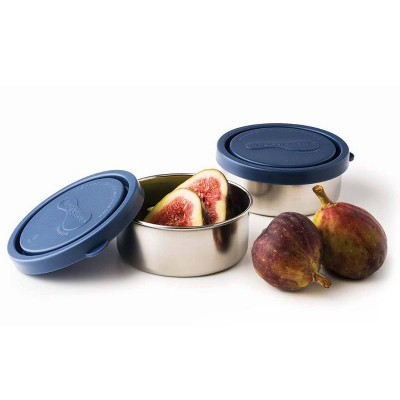 U-Konserve Stainless Steel Food-Storage Containers Round 5oz (Set of 2) - Ocean Plastic Lids