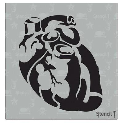 "Stencil1 Anatomical Heart - Stencil 5.75"" x 6"""
