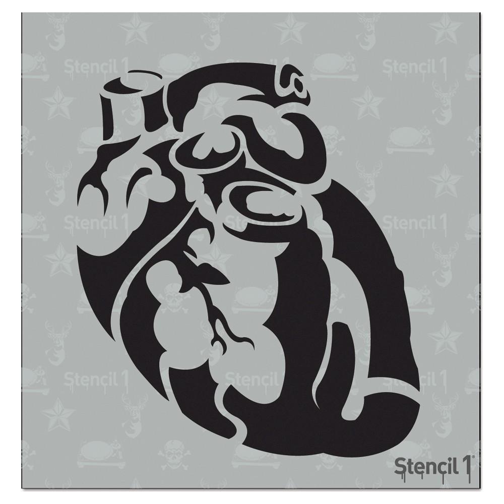 Stencil1 Anatomical Heart - Stencil 5.75 x 6, White