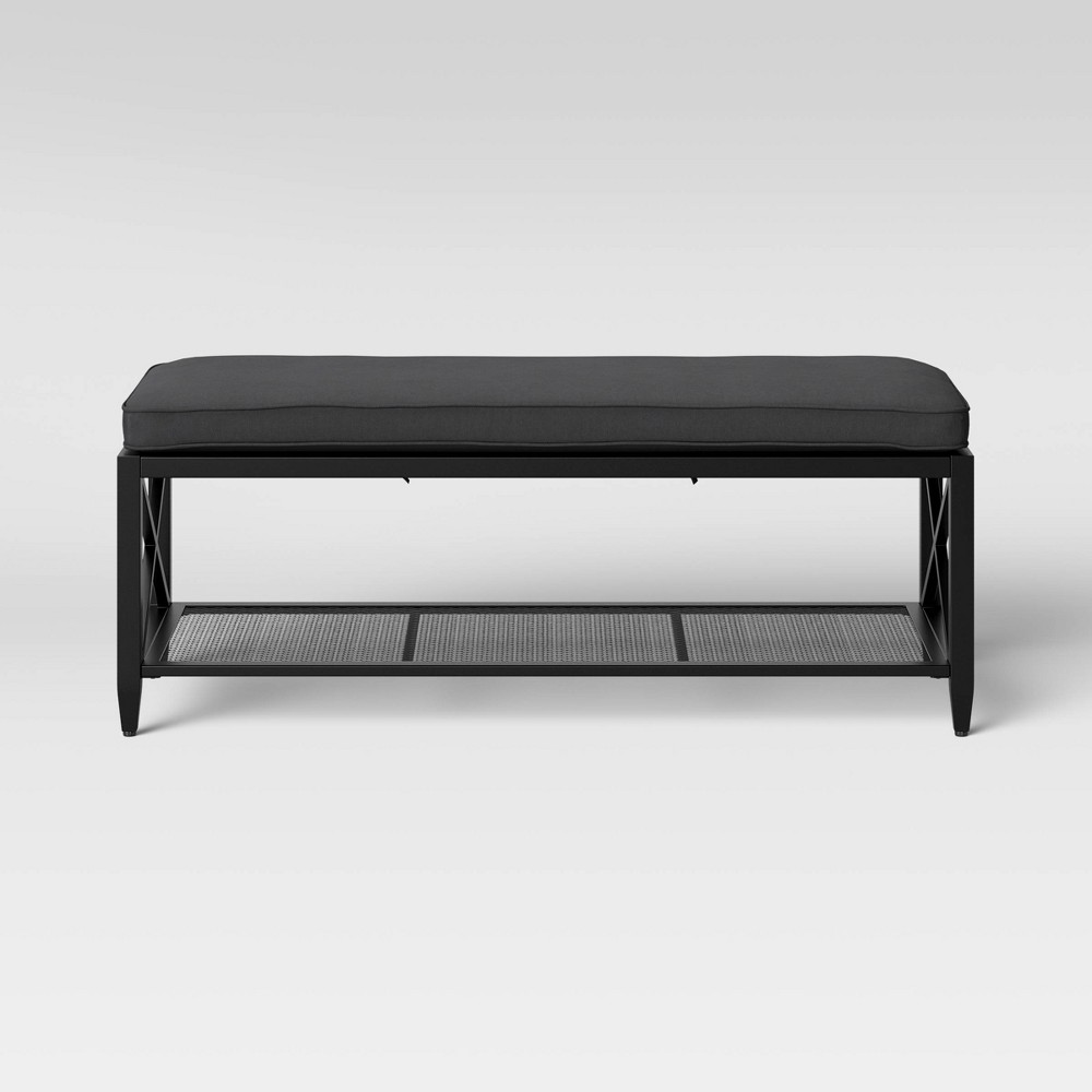 Fairmont Metal Padded Entryway Bench Black - Threshold