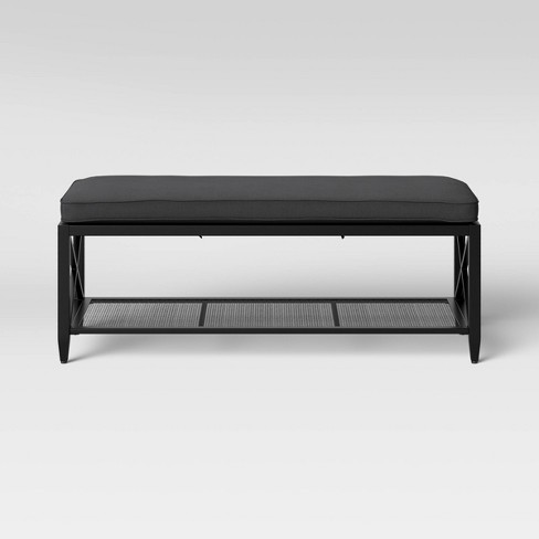 Awe Inspiring Fairmont Metal Padded Entryway Bench Black Threshold Caraccident5 Cool Chair Designs And Ideas Caraccident5Info