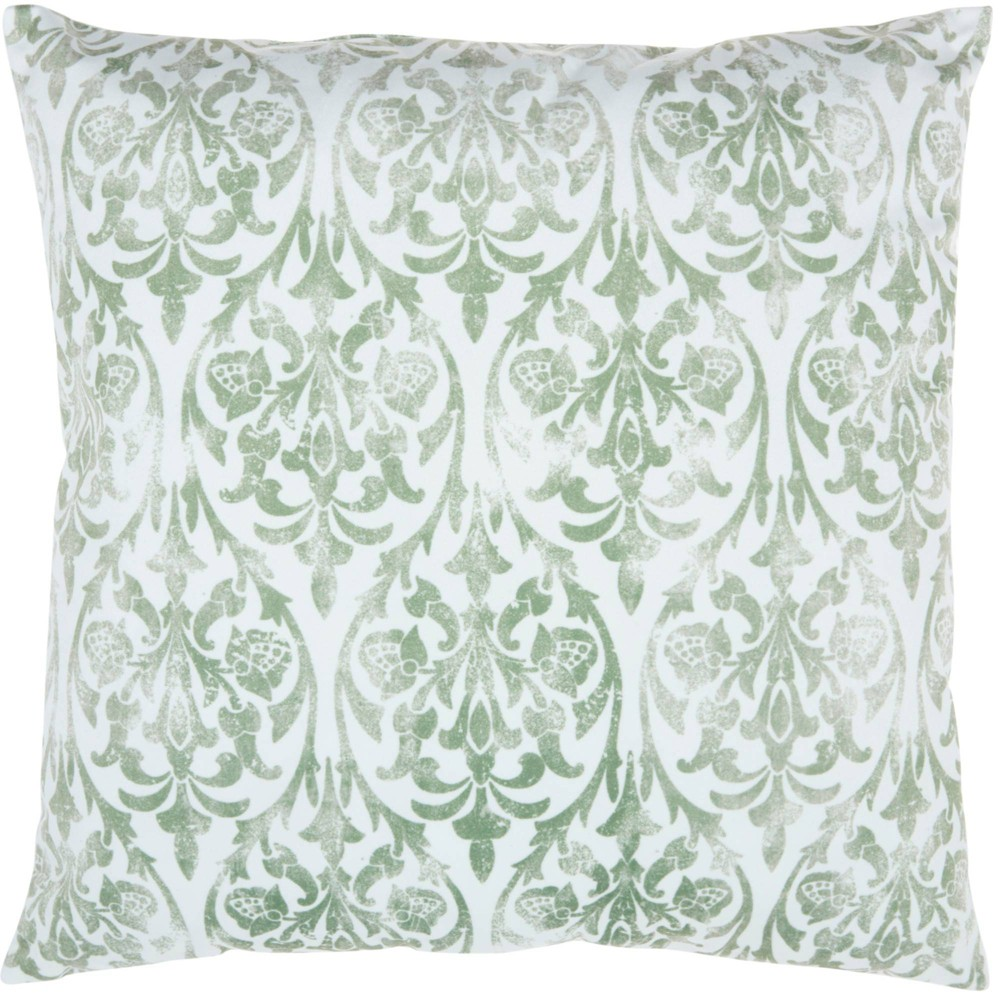 Image of Life Styles Faded Damask Oversize Square Throw Pillow Sage - Nourison, Green