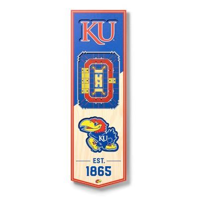 """NCAA Kansas Jayhawks 6""""x19"""" 3-D Stadium Wall Sign"""