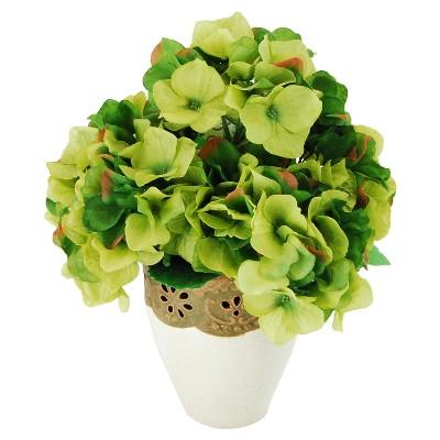 Artificial Hydrangea Arrangement Green 14  - LCG Florals