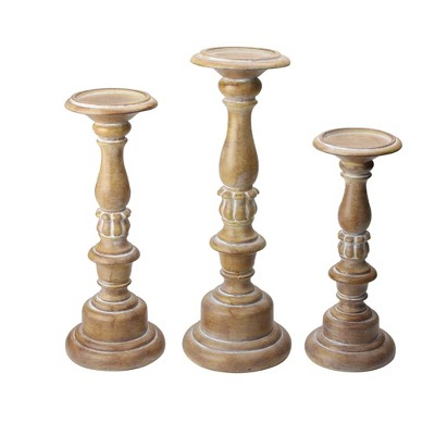 "Raz Imports Set of 3 Assorted Size Rustic White Dusted Pillar candle Holders 15""-11"""