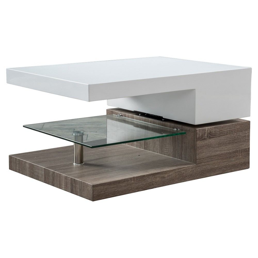 Bridgetown Rectangular Rotatable Coffee Table w/ Glass Glossy White/Oak - Christopher Knight Home
