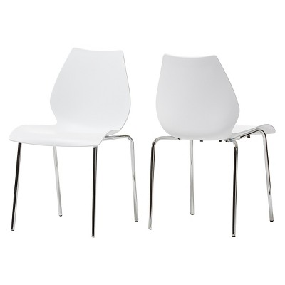 N Overlea Plastic Modern Dining Chair  White Set Of 2 Baxton Studio