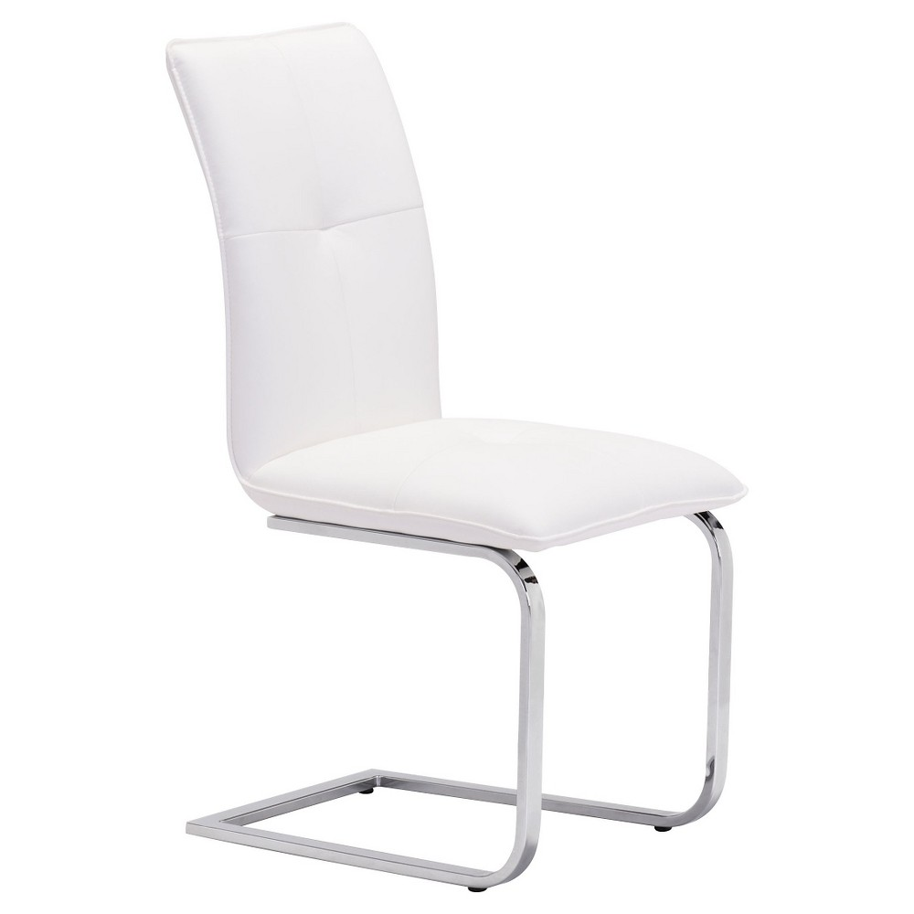 Slim Contemporary Chromed Steel Dining Chair (Set of 2) - White - ZM Home