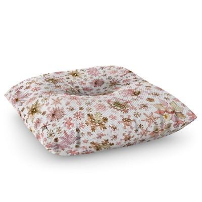 Ninola Design Snowflakes Watercolor Pink Square Floor Pillow - Deny Designs
