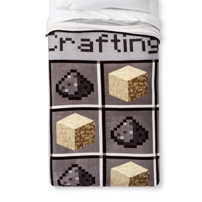 Minecraft Twin Bed Blanket Gray