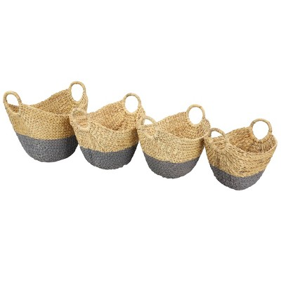 Olivia & May Set of 4 Large Oval Dip Dyed Water Hyacinth Wicker Storage Baskets with Round Handles