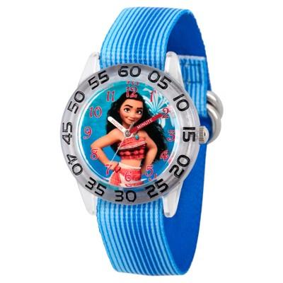 Girls' Disney Moana Clear Plastic Time Teacher Watch - Blue