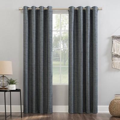 "63""x52"" Kline Burlap Weave Thermal 100% Blackout Grommet Top Curtain Panel Navy/Denim - Sun Zero"