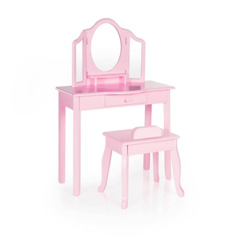 Kids' Classic Vanity and Stool Pink - Guidecraft - image 1 of 4