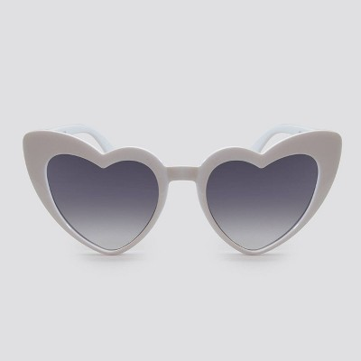 Women's Heart Shaped Plastic Silhouette Sunglasses - Wild Fable™ White