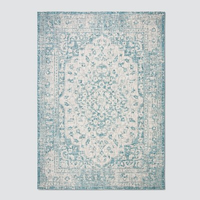 9'X12' Rita Outdoor Rug Gray/Blue - Safavieh
