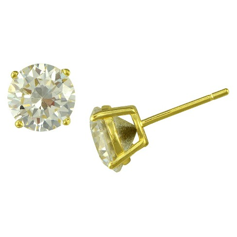 Gold Plated White Crystal Round Stud Earrings - image 1 of 1