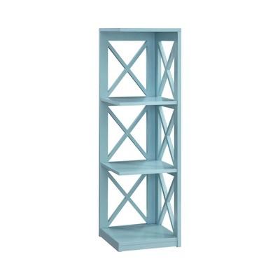 """38.5"""" Oxford 3 Tier Corner Bookcase Sea Foam - Breighton Home"""