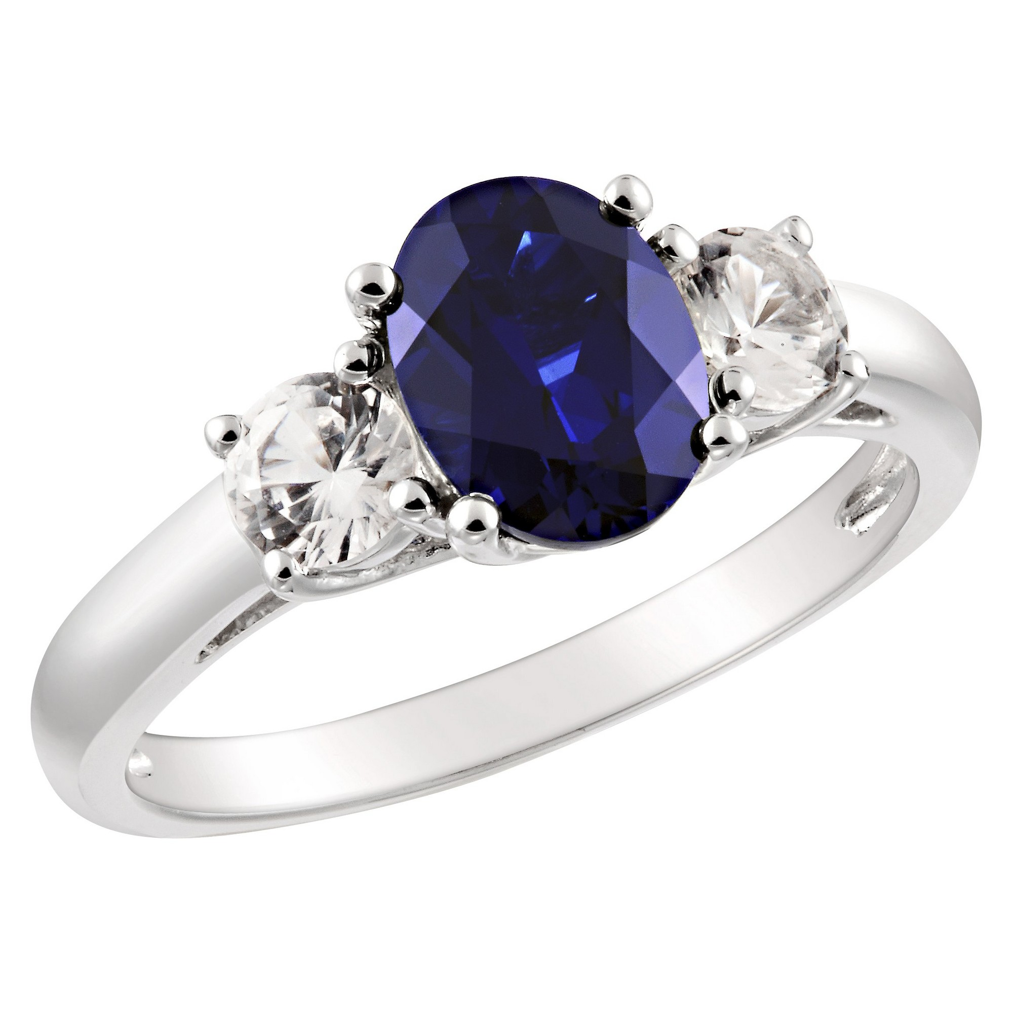Created Blue and White Sapphire Ring in Sterling Silver - Blue/White, Women's, Size: 6.0, White Blue