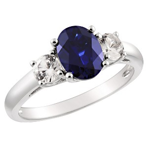Created Blue and White Sapphire Ring in Sterling Silver - Blue/White, Women