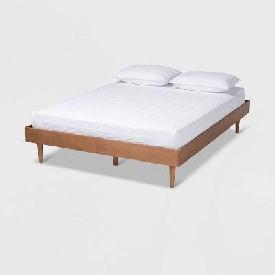Queen Rina Wood Bed Frame Ash Walnut - Baxton Studio