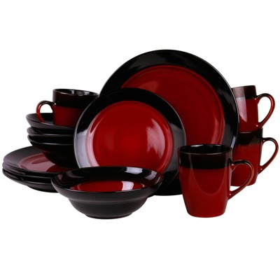 16pc Stoneware Modern Living Dinnerware Set Red - Elama