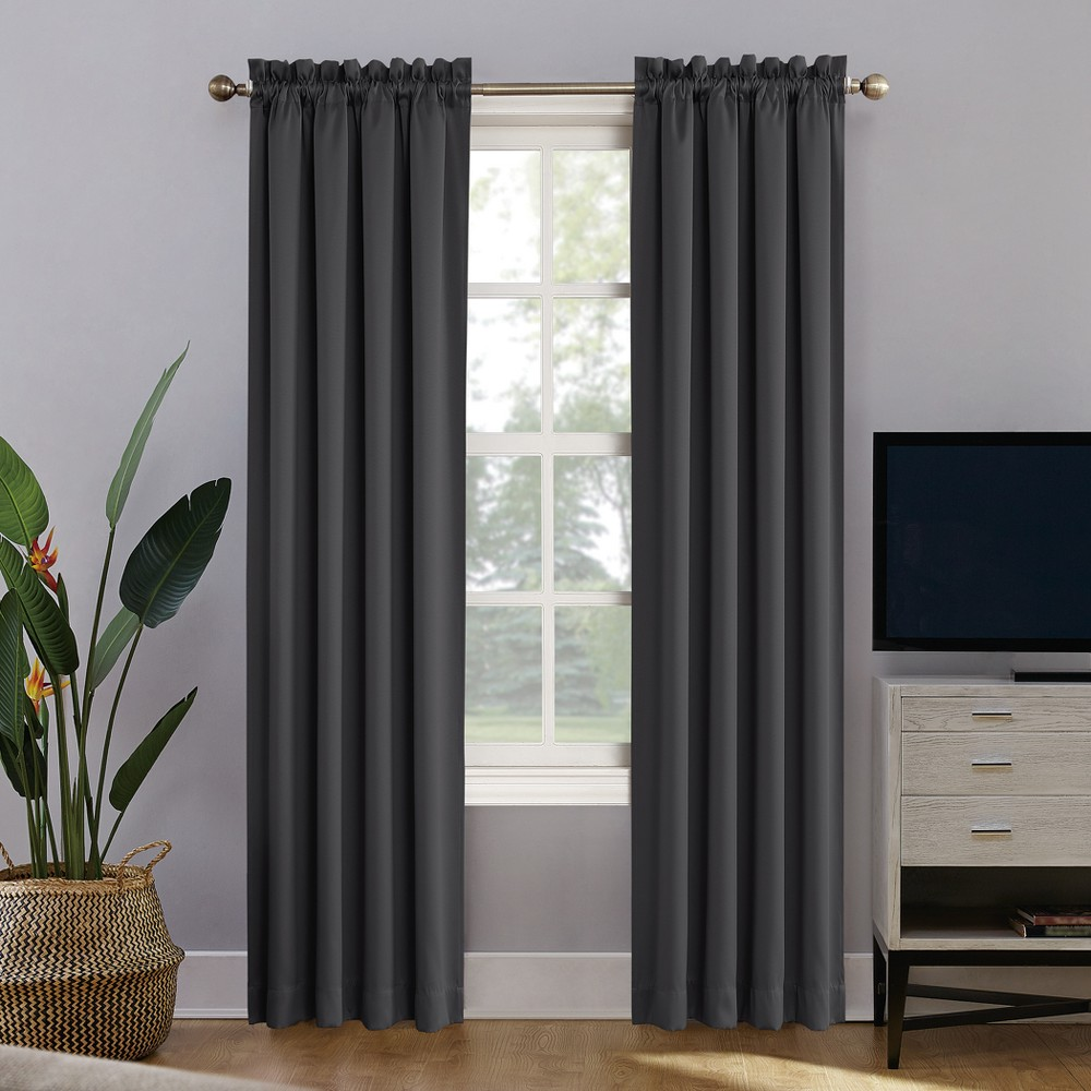Oslo Theater Grade Extreme Blackout Rod Pocket Curtain Panel Coal (Grey) 52