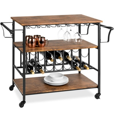 Best Choice Products 45in Industrial Wood Shelf Bar & Wine Storage Service Cart w/ Bottle & Glass Racks, Locking Wheels