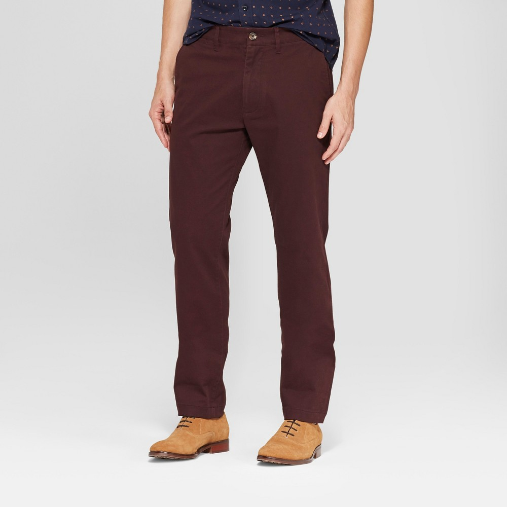 Men's Slim Fit Hennepin Chino - Goodfellow & Co Deep Purple 42x32, Red