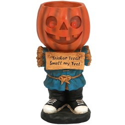 """28"""" Pumpkin Statue with Built-In Candy Dish and LED Lights - Sunnydaze Decor"""
